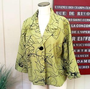 Silk Land | XL 100% Silk blazer green black floral